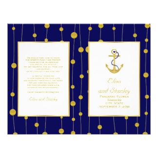 Gold foil anchor nautical wedding folded program flyer