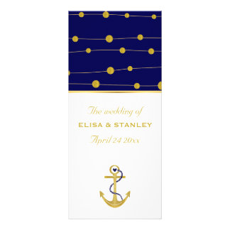 Gold foil anchor nautical wedding program