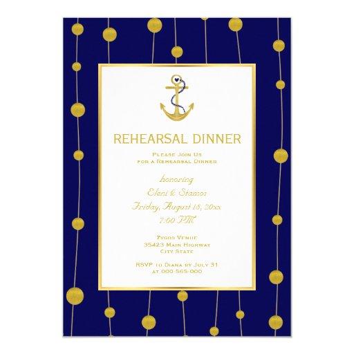 Gold foil anchor nautical wedding rehearsal dinner 5x7 paper invitation card | Zazzle