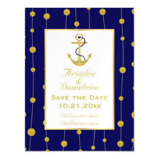 Gold foil anchor nautical wedding Save the Date Magnetic Card