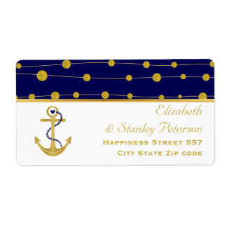 Gold foil anchor navy blue nautical modern wedding label