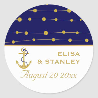 Gold foil anchor navy blue wedding Save the Date Classic Round Sticker