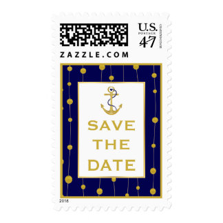 Gold foil anchor navy blue wedding Save the Date Postage