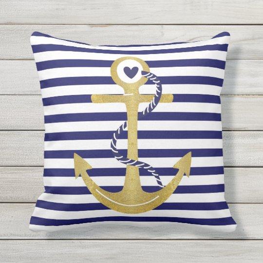 Gold Foil Anchor Navy Blue White Stripes Nautical Outdoor Pillow