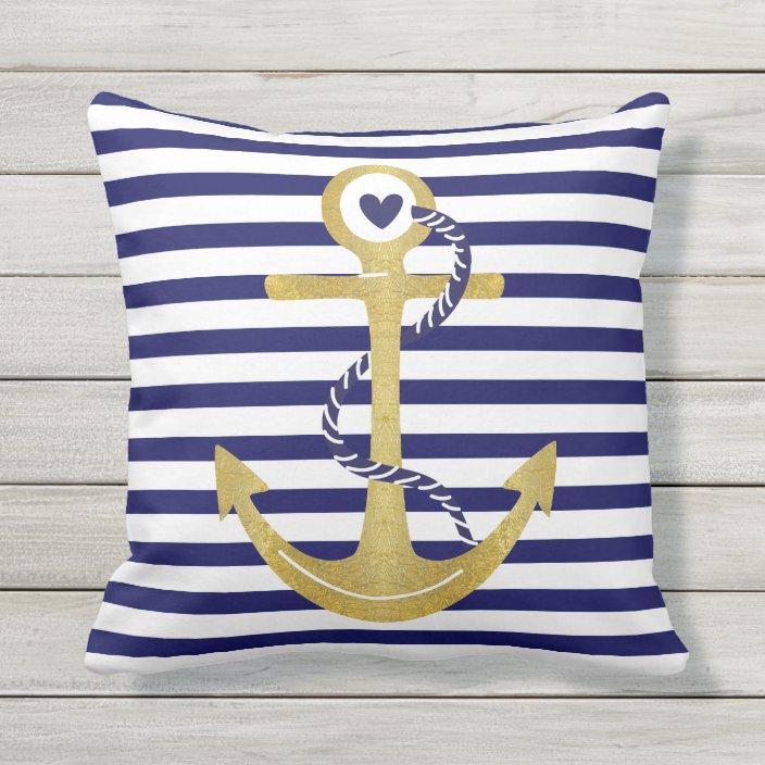 Gold Foil Anchor Navy Blue White