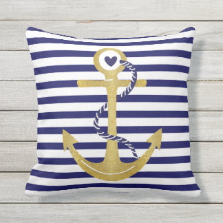 Gold foil anchor navy blue white stripes nautical outdoor pillow