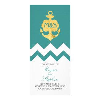 Gold Foil Anchor Teal Nautical Wedding Programs