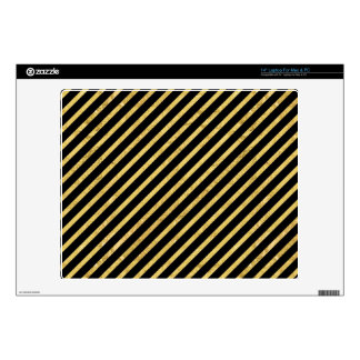 "Gold Foil and Black Diagonal Stripes Pattern 14"" Laptop Decal"