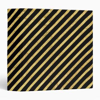 Gold Foil and Black Diagonal Stripes Pattern 3 Ring Binder