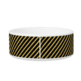 Gold Foil and Black Diagonal Stripes Pattern Bowl