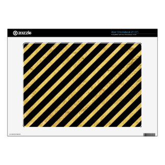 Gold Foil and Black Diagonal Stripes Pattern Decal For Acer Chromebook