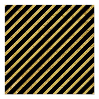 Gold Foil and Black Diagonal Stripes Pattern Poster
