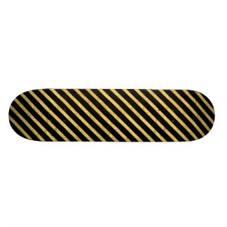 Gold Foil and Black Diagonal Stripes Pattern Skateboard Deck