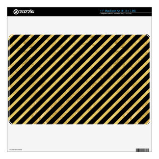 Gold Foil and Black Diagonal Stripes Pattern Skins For MacBook Air