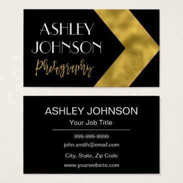Professional Business Gold Foil and Black Photographer Business Card