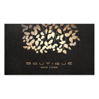 Gold Foil and Faux Black Linen Look Boutique Business Card Templates