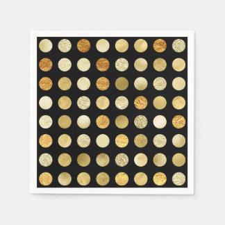 Gold Foil and Glitter Polka Dots Black Napkin