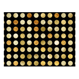 Gold Foil and Glitter Polka Dots Black Postcard