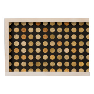 Gold Foil and Glitter Polka Dots Black Wooden Keepsake Box
