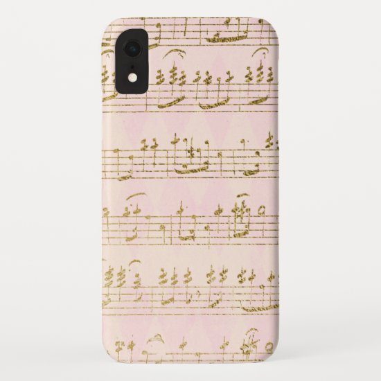 Gold Foil and Rose Gold Musical Notes Pattern iPhone XR Case