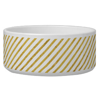 Gold Foil and White Diagonal Stripes Pattern Bowl