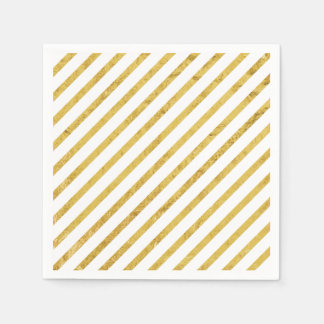 Gold Foil and White Diagonal Stripes Pattern Napkin