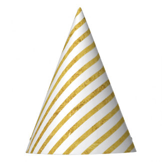 Gold Foil and White Diagonal Stripes Pattern Party Hat