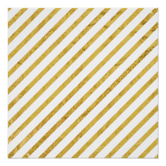 Gold Foil and White Diagonal Stripes Pattern Poster