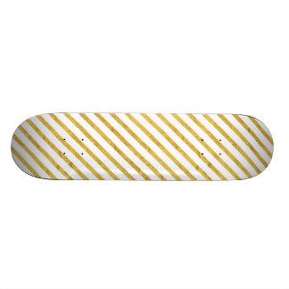 Gold Foil and White Diagonal Stripes Pattern Skateboard