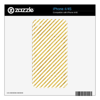 Gold Foil and White Diagonal Stripes Pattern Skin For The iPhone 4S