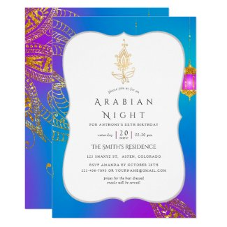 Gold Foil Arabian Nights Themed Party Invitation