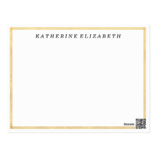 Gold Foil Art Deco Border Personalized Note Card