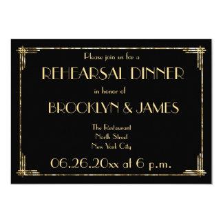 Gold Foil Art Deco Wedding Rehearsal Invites Black