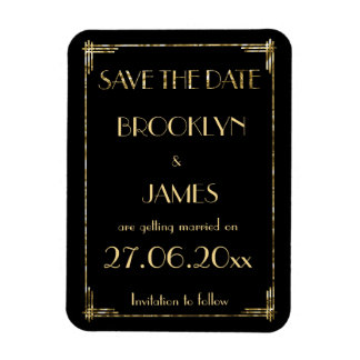 Gold Foil Art Deco Wedding Save The Date Magnet