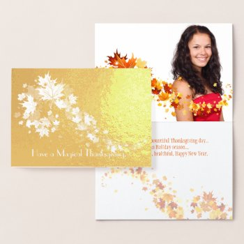 Gold Foil Autumn Leaves Thanksgiving Photo Foil Card
