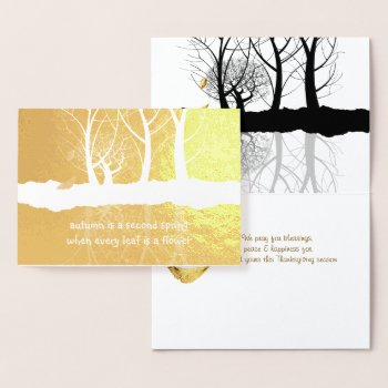 Gold Foil Autumn Trees in Snow Thanksgiving Foil Card