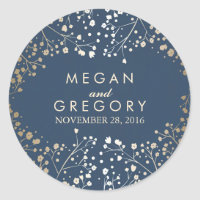 Gold Foil Baby's Breath Navy Wedding Classic Round Sticker