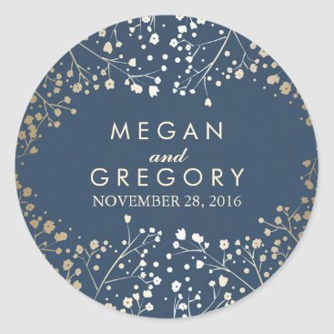 Toddler & Baby themed Gold Foil Baby's Breath Navy Wedding Classic Round Sticker