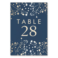 Gold Foil Baby's Breath Navy Wedding Table Numbers Card