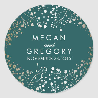 Gold Foil Baby's Breath Teal Wedding Classic Round Sticker
