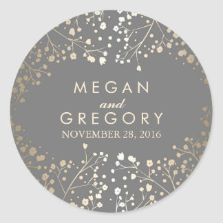 Gold Foil Baby's Breath Wedding Classic Round Sticker