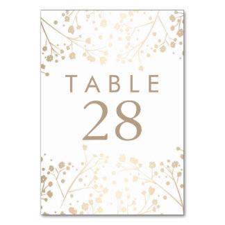 Gold Foil Baby's Breath Wedding Table Numbers Card