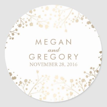 Toddler & Baby themed Gold Foil Baby's Breath White Wedding Classic Round Sticker