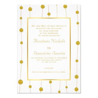 Gold foil beads and frame modern wedding card