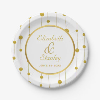 Gold foil beads and frame modern white wedding paper plate
