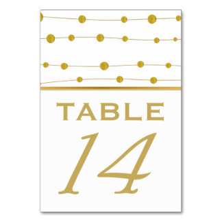 Gold foil beads and stripe wedding table number card