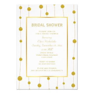 Gold foil beads modern wedding bridal shower card
