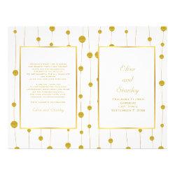 Gold foil beads modern wedding folded program flyer