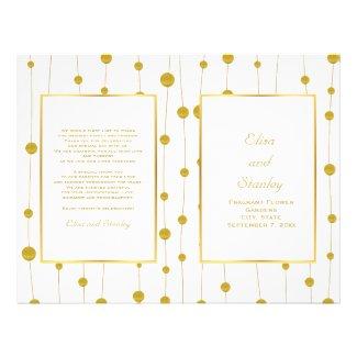 """Gold foil beads modern wedding folded program 8.5"""" x 11"""" flyer"""