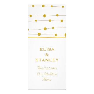 Gold foil beads modern wedding menu card full color rack card